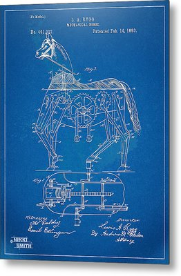 Mechanical Horse Toy Patent Artwork 1893 Metal Print by Nikki Marie Smith