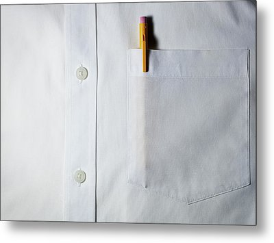 Mechanical Pencil In White Shirt Pocket. Metal Print by Ballyscanlon