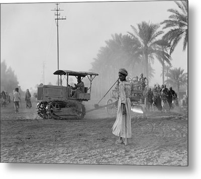 Medical College, Tractor Pulling A Cart Metal Print by Everett