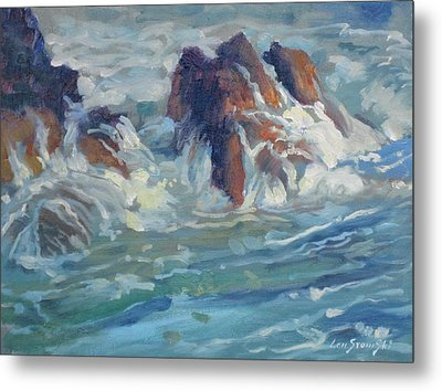 Metal Print featuring the painting Mediterranean Back Wash by Len Stomski