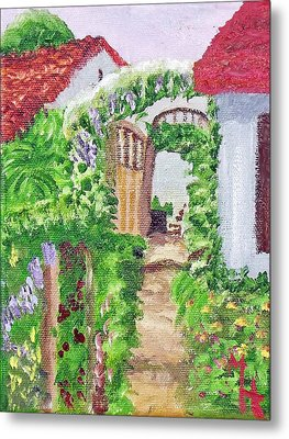 Metal Print featuring the painting Mediterranean Walkway by Margaret Harmon