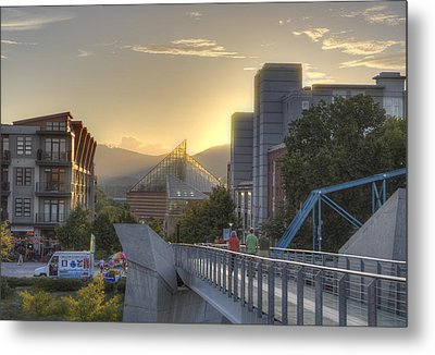 Meeting Bridges Metal Print