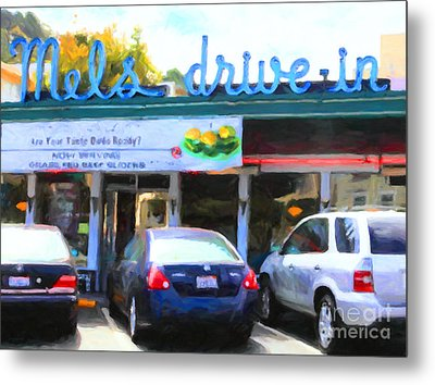 Mel's Drive-in Diner In San Francisco - 5d18014 - Painterly Metal Print by Wingsdomain Art and Photography