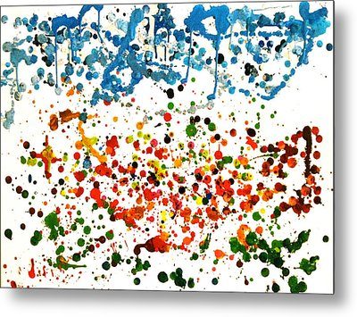 Melted Crayons Colourful Garden Metal Print by Pretchill Smith