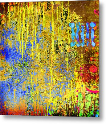 Metal Print featuring the painting Meltig Yellow by Lolita Bronzini