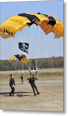 Members Of The Golden Knights Parachute Metal Print by Stocktrek Images