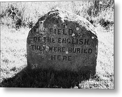 memorial stone for the dead english on Culloden moor battlefield site highlands scotland Metal Print by Joe Fox