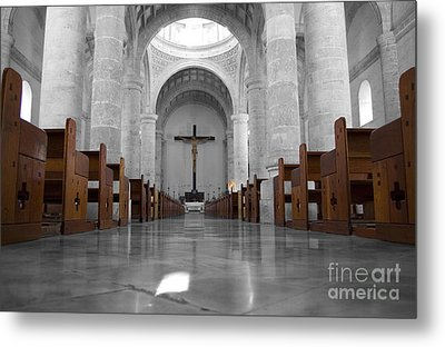 Metal Print featuring the photograph Merida Mexico Cathedral Interior Color Splash Black And White by Shawn O'Brien