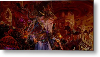 Metal Print featuring the painting Merlin At Hells Gate by Steve Roberts