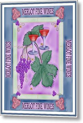 Merlot Fine Wines Orchard Box Label Metal Print by Anne Norskog