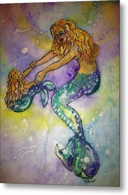 Mermaid And Child Metal Print by Gloria Avner