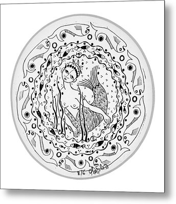 Mermaid In Black And White Round Circle With Water Fish Tail Face Hands  Metal Print by Rachel Hershkovitz