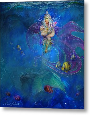 Metal Print featuring the painting Mermaid Prince by Steve Roberts