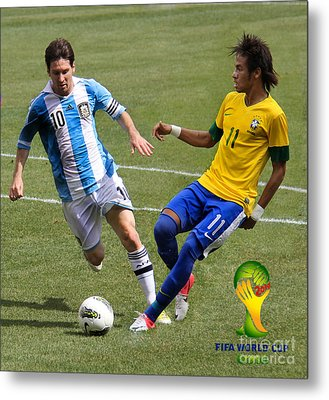 Messi And Neymar Clash Of The Titans World Cup 2014 Metal Print by Lee Dos Santos