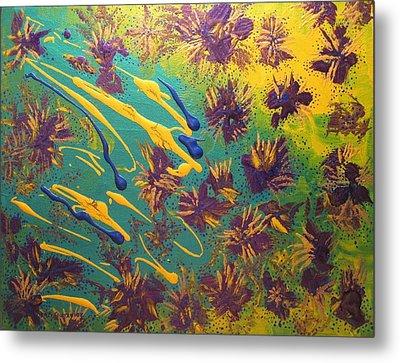 Metallic Waterlilies Metal Print by Sharon  De Vore