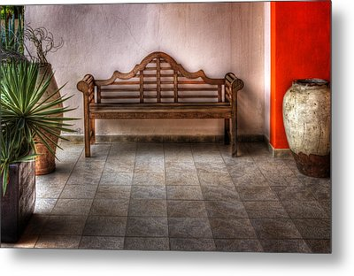 Mexican Patio Metal Print by Yelena Rozov