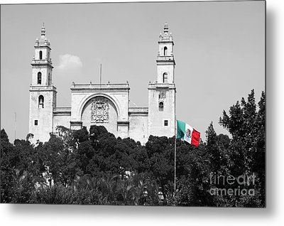 Metal Print featuring the photograph Mexico Flag On Merida Cathedral San Ildefonso Town Square Color Splash Black And White by Shawn O'Brien