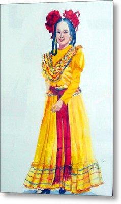 Mexico Srta In Yellow Metal Print by Estela Robles