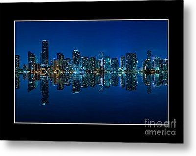 Metal Print featuring the photograph Miami Skyline Night Panorama by Carsten Reisinger