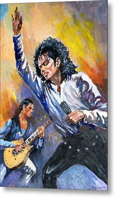 Metal Print featuring the painting Michael Jacksn In Concert by Al Brown