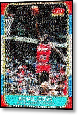Michael Jordan Rookie Mosaic Metal Print by Paul Van Scott