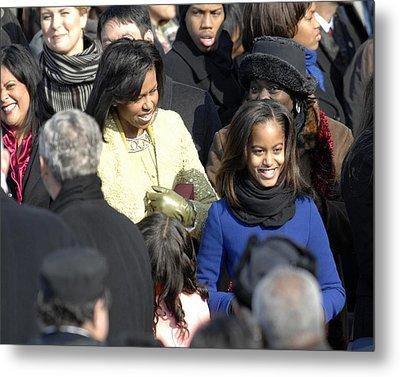 Michelle Obama And Daughters Malia Metal Print