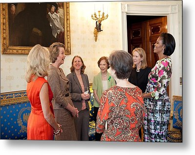 Michelle Obama And Jill Biden Metal Print by Everett