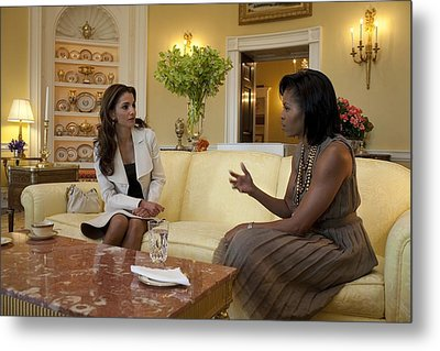 Michelle Obama And Queen Rania Metal Print by Everett