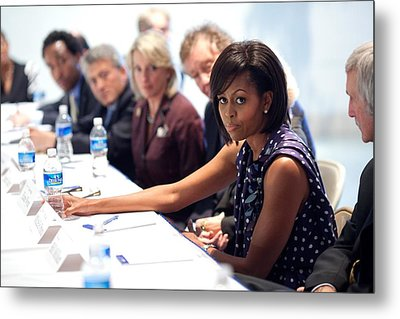 Michelle Obama Attends A Meeting Metal Print by Everett