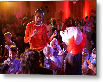 Michelle Obama Dancing With Children Metal Print