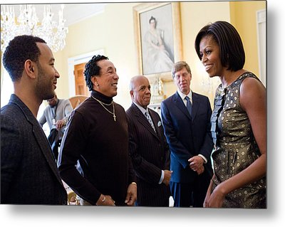 Michelle Obama Greets John Legend Metal Print by Everett