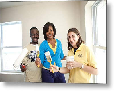 Michelle Obama Joins A United We Serve Metal Print by Everett