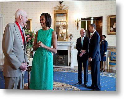 Michelle Obama Laughs With National Metal Print by Everett