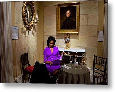 Michelle Obama Prepares Before Speaking Metal Print by Everett