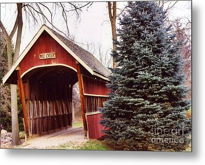 Michigan Red Covered Bridge Nature Landscape Metal Print by Kathy Fornal