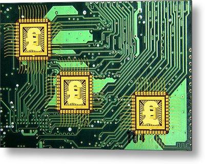 Microchip Sales, Conceptual Image Metal Print by Victor De Schwanberg