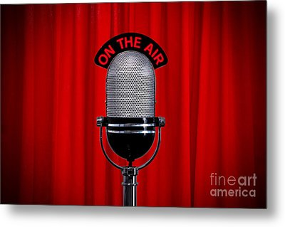 Microphone On Stage With Spotlight On Red Curtain Metal Print by Richard Thomas