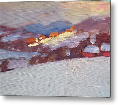 Metal Print featuring the painting Mid Winter In New York by Len Stomski