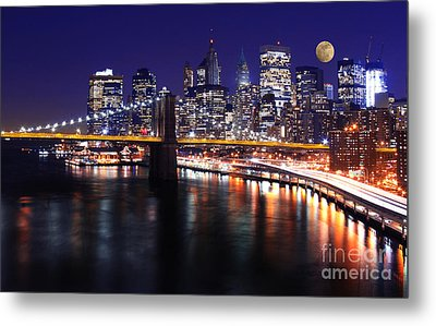 Midnight In The Shadow Of Brooklyn Bridge - Brooklyn Bridge Metal Print by Lee Dos Santos