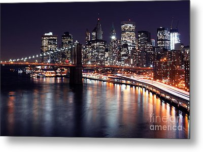 Midnight In The Shadow Of Brooklyn Bridge II- Brooklyn Bridge Metal Print by Lee Dos Santos