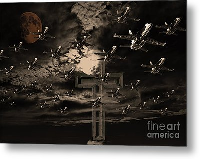 Midnight Raid Under The Golden Moonlight Metal Print by Wingsdomain Art and Photography