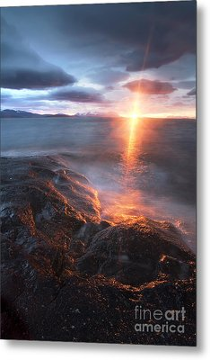 Midnight Sun Over Vågsfjorden Metal Print