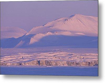 Midnight Sunlight On Polar Mountains Metal Print