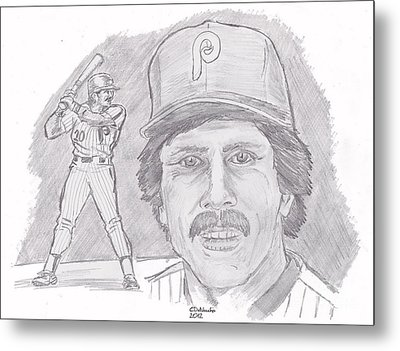 Metal Print featuring the drawing Mike Schmidt by Chris  DelVecchio