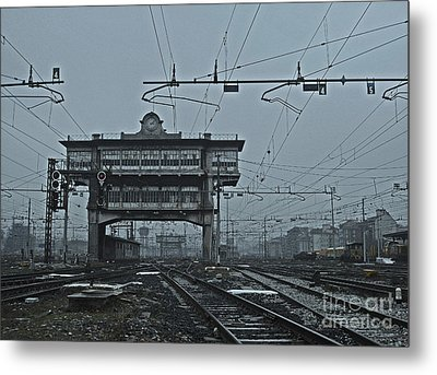 Metal Print featuring the photograph Milan Central Station Italy In The Fog by Andy Prendy