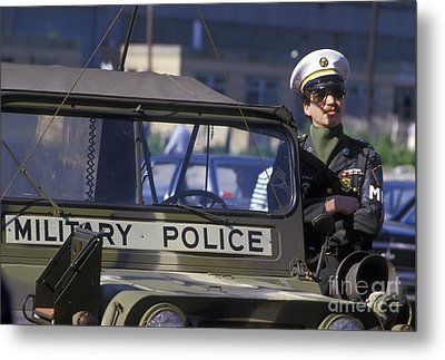 Military Policeman Stands Next Metal Print
