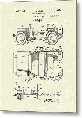 Military Vehicle 1942 Patent Art Metal Print