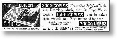 Mimeograph Ad, 1890 Metal Print by Granger
