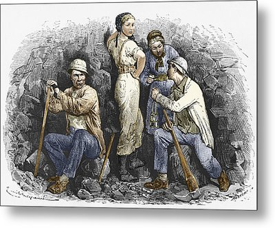 Miners And Their Wives, 19th Century Metal Print by Sheila Terry