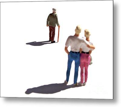 Miniature Figurines Couple Watching Elderly Man Metal Print